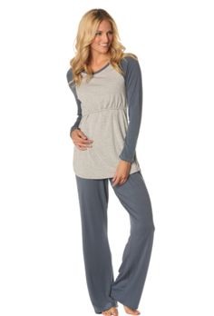 versatile eco friendly bumpstyle // MAJAMAS // comfy cozy PJs, sleepwear & pajamas // cotton modal grey long sleeve maternity baseball top with nursing access for mama & long pant // be the change & learn to love ecofashion // wear beautiful clothing that doesn't harm our beautiful planet