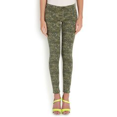 rag and bone Mid-Rise Printed Skinny Jeans ($265) ❤ liked on Polyvore