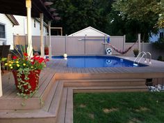 Pool Deck Ideas for Inground Pools . Pool Deck Ideas for Inground Pools . This Photo About Best Semi Inground Pools Design Ideas Swimming Pool Decks, My Pool, Pool Spa, Above Ground Pool Decks, In Ground Pools, Small Deck Designs, Semi Inground Pools, Backyard Pool Landscaping, Landscaping Ideas
