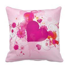 Royal Pink Heart Throw Pillow