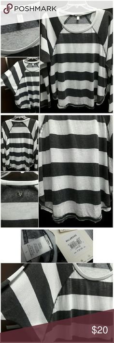 BILLABONG See the Light Stripe Top Brand New with Tags! Size Large - says Juniors, but fits a womens Large - Long sleeve pullover with thermal sleeves, bat wing. Slits on the side, for a more flowy look. Colors are considered black and white washed out. ... Ask me anything!! Billabong Tops Tees - Long Sleeve
