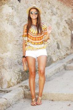 Fantastic pattern, white shorts and tan legss:)
