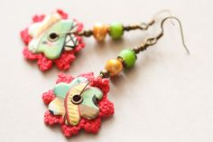 Colorful Crochet Earrings Tin Earrings Boho by MusingTreeStudios, $18.99