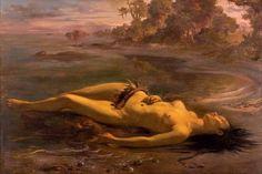 """""""Moema"""", de Victor Meirelles (1832-1903), é baseado no poema épico """"Caramuru"""", de José de Santa Rita Durão. A índia, apaixonada por Diogo Álvares Correia, o Caramuru, ao vê-lo regressar à Europa, atira-se na água e nada atrás do navio até perder as forças e afogar-se. A maré deposita na praia seu corpo sem vida"""