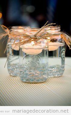 Déco centre table mariage pas cher, pot verre et bougies                                                                                                                                                     Plus
