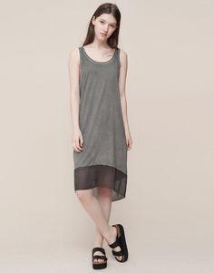 Pull&Bear - dames - jurken - gelaagde délavé jurk - donkergrijs - 09390306-I2015