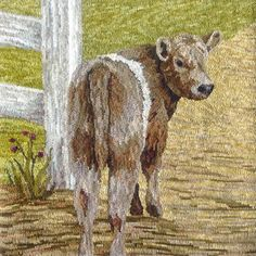 """Beltie"" designed and hooked by Karen Poetzinger from Woolen Tales Rug Art                                                                                                                                                      More"