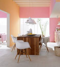 Colour Blocking at Home - a whole series of shots and pages on using color blocking to define and perk up a room. I don't love the rainbow sherbet tones here, but I do love the idea