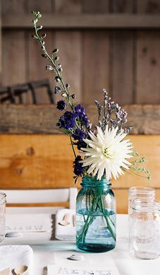 Blue Mason Jars with wildflowers-guest bedroom-