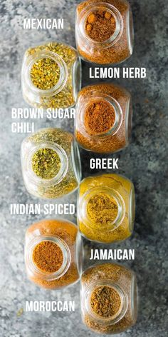 7 easy dry rub recipes for meat or veggies-- these rubs are absolutely perfect to mix up the flavors in your meal prep! They are great on sheet pan dinners, roasted or grilled veggies, meat and seafood. 7 easy dry rub recipes for me Homemade Spice Blends, Homemade Spices, Homemade Seasonings, Spice Mixes, Spice Rub, Homemade Dry Mixes, Homemade Italian Seasoning, Easy Dry Rub Recipe, Dry Rub Recipes
