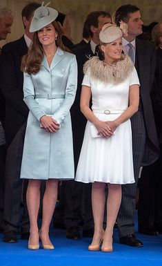 16 JUNE 2014 The Duchess of Cambridge, neé Kate Middleton was joined by Sophie, Countess of Wessex on Monday at the Order of the Garter.  As the 24 Knights of the Order of the Garter made their way through the grounds of Windsor Castle wearing full regalia, they were trailed by Prince William, Prince Charles, the Duke of York and the Earl of Wessex.   Queen Elizabeth II and the Duke of Edinburgh followed them into St George's Chapel.