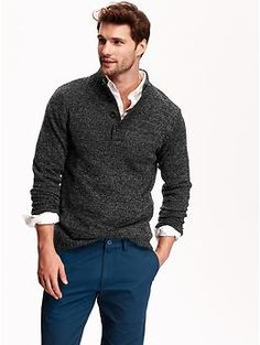 Old navy men's mock-neck marled sweater clothing & fashion идеи на Mens Fashion Sweaters, Mens Fashion Suits, Marled Sweater, Men Sweater, Mens Sweater Outfits, Old Navy Men, Mens Clothing Styles, Mock Neck, Jeans