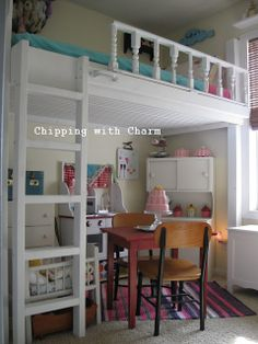 "Chipping with Charm: Lofted ""Cottage"" Bed with pieced spindles, beadboard under.  Little girls dream!"