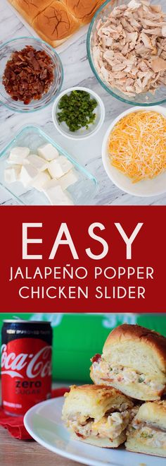 Game day sliders for a crowd. Such easy jalapeno sliders that will have everyone scream TOUCHDOWN! The best rotisserie chicken sliders for game day. OMG jalapeno chicken sliders recipe a Jalapeno Poppers, Jalapeno Popper Chicken, Party Dips, Quick Dinner Recipes, Quick Easy Meals, Appetizers For Party, Appetizer Recipes, Tailgate Appetizers, Simple Appetizers