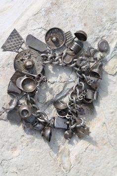 Vintage Mexican Sterling Silver 32 Charm Bracelet Pots Pans Hats Lucky 13 | eBay