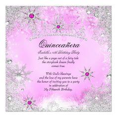 Quinceanera 15th Winter Wonderland Silver Pink 2