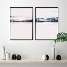 Horizon Blush navy wall art set of 2 prints navy blush Blush Walls, Navy Walls, Pink Walls, Pink Wall Art, Wall Art Sets, Minimalist Landscape, Wall Maps, Color Rosa, Watercolor Print