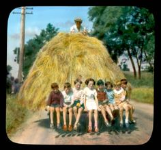 """Bringing the hay home, Co. Dublin in the It was similar in the too. We loved to get a lift on the """"shifter"""" Best Of Ireland, Images Of Ireland, Dublin Ireland, Irish Famine, Irish People, Ireland Homes, England And Scotland, Republic Of Ireland, Way Of Life"""