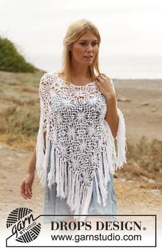 "Crochet DROPS poncho with squares in ""Safran"". Size: S - XXXL. ~ DROPS Design"