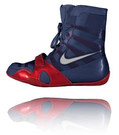 Nike HyperKO Obsidian   Red   Silver Boxing Boots 80666e88d
