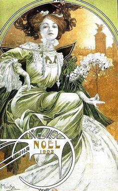 Noel cover (detail) of 'Paris Illustre' by Alphonse Mucha, 1903 Art Nouveau Mucha, Alphonse Mucha Art, Art Nouveau Poster, Vintage Posters, Vintage Art, Art Nouveau Illustration, Jugendstil Design, Guache, Commercial Art