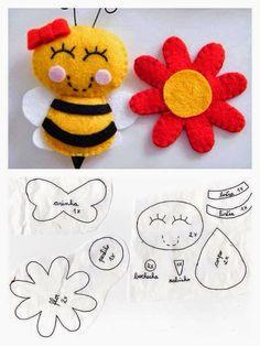 molde abelhinha de feltro
