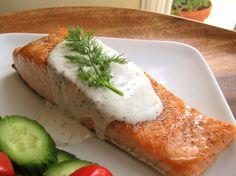 Seared Salmon with Creamy Dill Sauce Recipe Main Dishes with salmon fillets, extra-virgin olive oil, pepper, salt, mayonnaise, sour cream, fresh dill, horseradish, fresh lemon juice, garlic powder, salt, ground black pepper, dill sprigs
