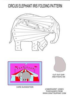 Circus Elephant Iris Folding Pattern on Craftsuprint designed by Margaret Jones - This could be a card for any occasion, any child would love to receive it. Birthday, Get Well, Thinking of You, etc. Easy iris folding pattern of a circus elephant, with the ear to cut out and add afterwards. Add a googly eye for a fun effect. - Now available for download!