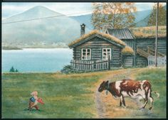 Swedish Christmas, Scandinavian Christmas, Christmas Illustration, Illustration Art, Classic Fairy Tales, Pretty Drawings, Indie Art, Gnome House, Cow Art