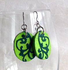 Green Hanji Paper Earrings Dangle Lime Green Emerald by HanjiNaty
