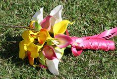 Tropical Bridal Bouquet Yellow calla lilies by SilkFlowersByJean, $95.00
