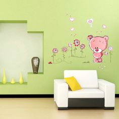 Pink Bear Nursery Wall Decal Sticker by Baby in Motion