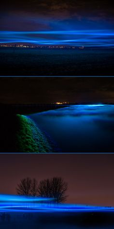 """Dutch artist Daan Roosegaarde pays homage to water infrastructure in his work """"Waterlicht"""". The installment, which he calls a """"virtual flood,"""" projects blue LED lights into the foggy skies to form a human-made aurora borealis over an acre of land along the IJssel river. The glowing fog is representative of the land that would be drowned if the river's levies collapsed. Though not specifically about climate change, the art could serve as a reminder of sea level rise and increasing storm…"""