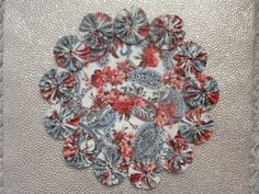 Peachy Red Flowers with Paisley doilypenny rug style by SursyShop, $8.00