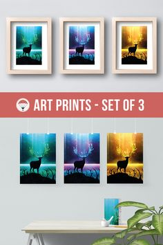 Spiritual Art Northern Wildlife Dark Art Three Piece Set Glowing Colors Antlers Artwork Set Galaxy Print Deer Home Decor Psychedelic Sky Fantasy Painting Forest Scene Aurora Borealis Northern Wildlife Colorful Universe
