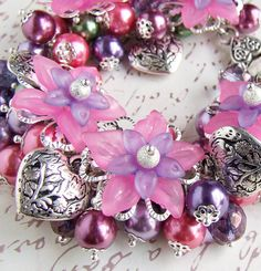 Floral beaded Charm Bracelet  Ring a Rosie  by whiteravendesignsau, $43.00