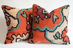 Sukan / SET(2 Piece) Organic Shine Society Modern Bohemian Throw Pillow. Handwoven Wool Vintage Tribal Turkish Orange Kilim Pillow Cover. $178.95, via Etsy.