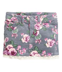 Gray/floral. Skirt in stretch corduroy with an adjustable elasticized waistband…