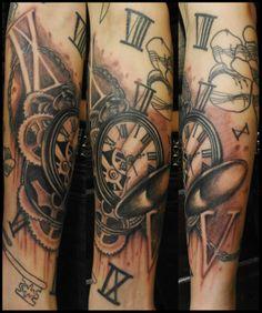 Broken Pocket Watch Tattoo by; Tony Nguyen