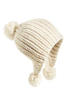 Billabong 'Bonfire Daze' Beanie available at Crochet Hood, Crochet Cap, Crochet Beanie, Knitted Hats, Pom Pom Beanie Hat, Beanie Hats, Chunky Yarn, Cool Hats, Bandeau
