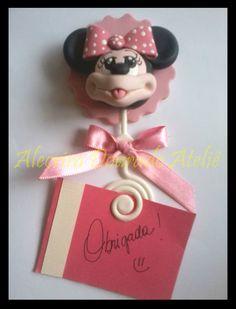Porta recado Minnie em biscuit