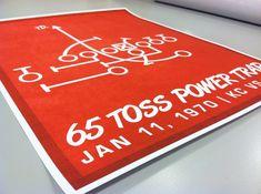 """Chiefs Football Print """"65 Toss Power Trap"""" Kansas City Chiefs Football Poster in Chiefs Red and Whit"""