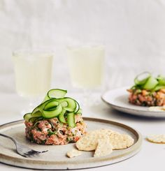 salmon tartare with ginger & sesame . Appetizer Recipes, Snack Recipes, Healthy Recipes, Ceviche, Tartare Recipe, Salmon Tartare, Salty Foods, How To Cook Fish, Eating Raw
