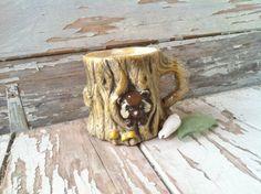 Kitsch Raccoon Ceramic Mug  Retro Ceramic by happydayantiques, $7.75