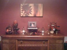 inherited antique buffet decorated for fall