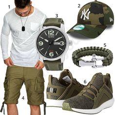 Grün-Weißes Herrenoutfit mit Longsleeve und Cargo-Shorts #camouflage #citizen #uhr #puma #outfit #style #herrenmode #männermode #fashion #menswear #herren #männer #mode #menstyle #mensfashion #menswear #inspiration #cloth #ootd #herrenoutfit #männeroutfit #mann #gentlemen
