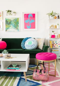 unexpected color combinations at home. (Oh Joy! Living Room Decor, Living Spaces, Dining Room, Hangout Room, Living Room Inspiration, Office Interiors, Decoration, House Colors, Colorful Interiors