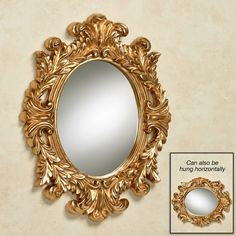 Angelic Acanthus Aged Gold Oval Wall Mirror