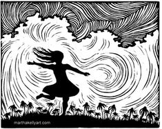 """Joy"", a linoleum block print by Martha Kelly."