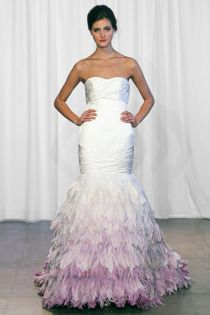 Kelly Faetanini Feathers Silk Satin Fit To Flare Gown With Ombre Feathered Skirt